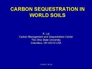 CARBON SEQUESTRATION IN WORLD SOILS R Lal Carbon