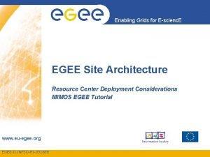 Enabling Grids for Escienc E EGEE Site Architecture