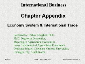 International Business Chapter Appendix Economy System International Trade