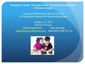 Reading at Home The Importance of Parental Involvement