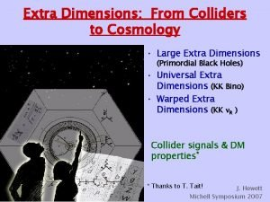 Extra Dimensions From Colliders to Cosmology Large Extra