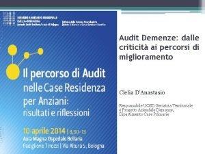Audit Demenze dalle criticit ai percorsi di miglioramento