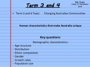 Term 3 and 4 Term 3 and 4