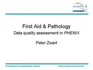 First Aid Pathology Data quality assessment in PHENIX
