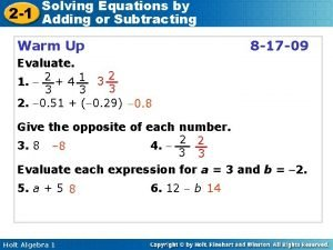 Solving Equations by 2 1 Adding or Subtracting