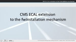 CMS ECAL extension to the fw Installation mechanism