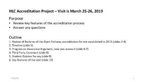 HLC Accreditation Project Visit is March 25 26
