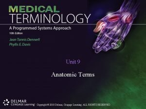 Unit 9 Anatomic Terms Copyright 2010 Delmar Cengage