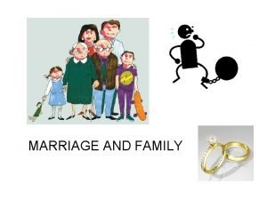 MARRIAGE AND FAMILY MARRIAGE AND FAMILY IN A