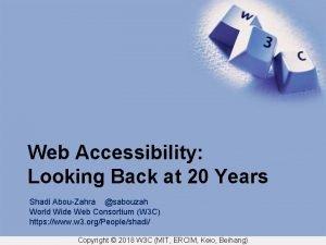 Web Accessibility Looking Back at 20 Years Shadi