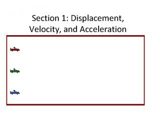 Section 1 Displacement Velocity and Acceleration Displacement Is