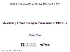 RHIC AGS Annual Users Meeting BNL June 1