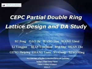 LOGO CEPC Partial Double Ring Lattice Design and