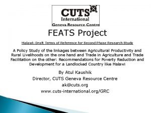 FEATS Project Malawi Draft Terms of Reference for