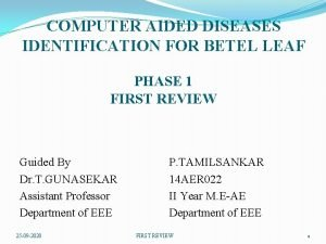 COMPUTER AIDED DISEASES IDENTIFICATION FOR BETEL LEAF PHASE