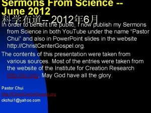 Sermons From Science June 2012 2012 6 In