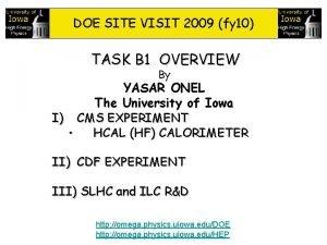 DOE SITE VISIT 2009 fy 10 TASK B