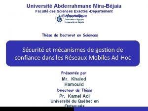 Universit Abderrahmane MiraBjaia Facult des Sciences Exactes Dpartement