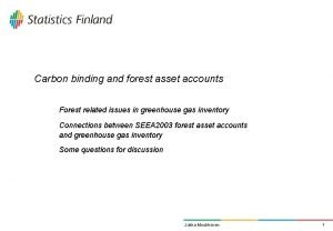 Carbon binding and forest asset accounts Forest related