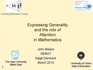 Promoting Mathematical Thinking Expressing Generality and the role