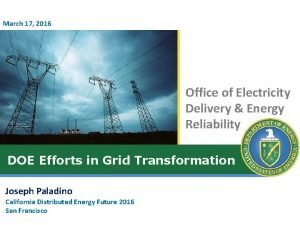 March 17 2016 Office of Electricity Delivery Energy