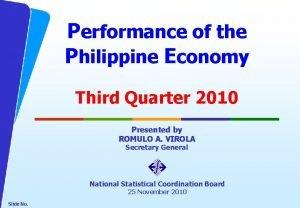 Performance of the Philippine Economy Third Quarter 2010