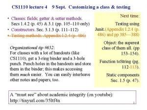 CS 1110 lecture 4 9 Sept Customizing a