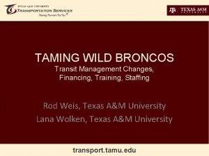 TAMING WILD BRONCOS Transit Management Changes Financing Training