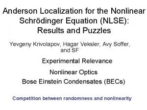 Anderson Localization for the Nonlinear Schrdinger Equation NLSE
