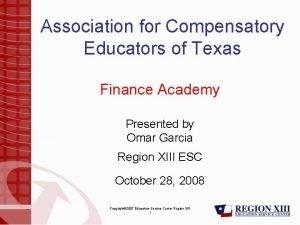 Association for Compensatory Educators of Texas Finance Academy