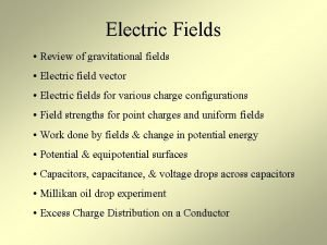 Electric Fields Review of gravitational fields Electric field