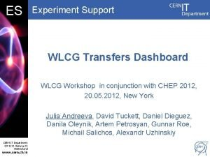 DB ES Experiment Support WLCG Transfers Dashboard WLCG