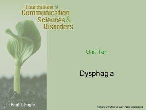 Unit Ten Dysphagia Copyright 2008 Delmar All rights