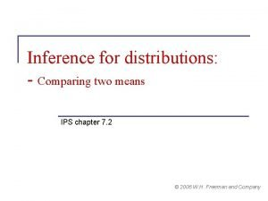 Inference for distributions Comparing two means IPS chapter