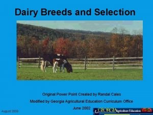 Dairy Breeds and Selection Original Power Point Created