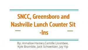 SNCC Greensboro and Nashville Lunch Counter Sit Ins