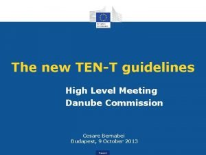 The new TENT guidelines High Level Meeting Danube