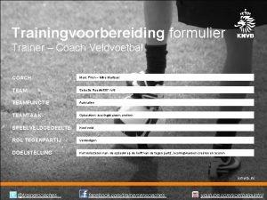 Trainingvoorbereiding formulier Trainer Coach Veldvoetbal COACH Marc Piron