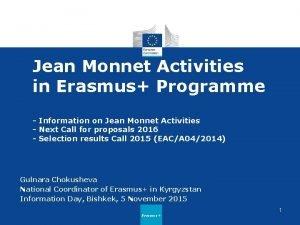 Jean Monnet Activities in Erasmus Programme Information on