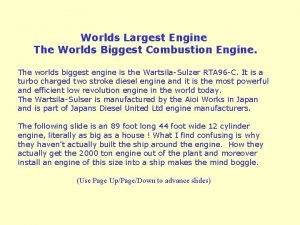 Worlds Largest Engine The Worlds Biggest Combustion Engine