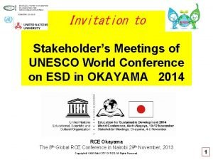 Invitation to Stakeholders Meetings of UNESCO World Conference