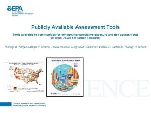 Publicly Available Assessment Tools available to communities for