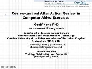 Coarsegrained After Action Review in Computer Aided Exercises