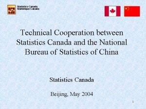 Statistics Canada Statistique Canada Technical Cooperation between Statistics
