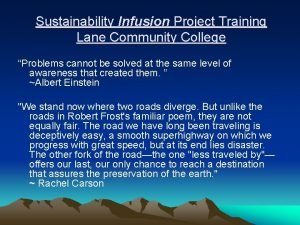 Sustainability Infusion Project Training Lane Community College Problems