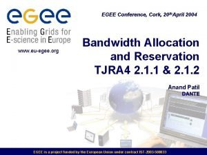 EGEE Conference Cork 20 th April 2004 www