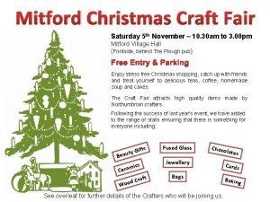 Mitford Christmas Craft Fair Saturday 5 th November
