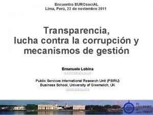 Encuentro EUROsoci AL Lima Per 22 de noviembre