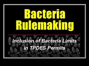 Bacteria Rulemaking Inclusion of Bacteria Limits in TPDES