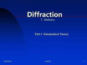 Diffraction T Ishikawa Part 1 Kinematical Theory 9252020